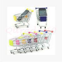 Wholesale 2400pcs CCA3015 Candy Color Cute Shopping Cart Mobile Phone Holder Pen Holder Mini Supermarket Handcart Shopping Utility Cart Phone Holder