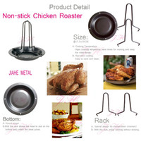 Wholesale NEW UPRIGHT CHICKEN ROASTER RACK WITH BOWL TIN NON STICK Non stick baking pan cooking barbecue