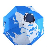 automatic earth - 3D Stereo Blue Earth Pattern Compact Portable Windproof Sun Rain Umbrella Triple Folding Outdoor Anti UV Parasol