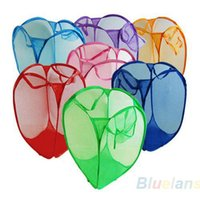 Wholesale Mesh Fabric Foldable Pop Up Dirty Clothes Washing Laundry Basket Bag Bin Hamper Storage for Home Housekeeping Use