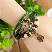 antique chronograph - Drop shipping Korean Vine Wrist Watches Clover Pendant handmade weave leather bracelet watch Analog Bronze women s Quartz watch