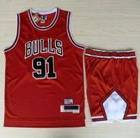 polyester mesh shorts - Chicago Dennis Rodman Jerseys Shorts Sets New Material Mesh Red Bulls Jersey Pant Suit Top Quality