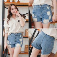 Cheap Summer 2015 for Women New High waist shorts short jeans ripped holes jeans denim shorts E3487