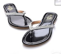 band slippers - Newest Women Flat Sandals Slippers lady teen Big Size Summer leather Rhinestone T Strap Flip Flops beach Shoes black white drop shipping