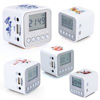 Wholesale Digital Mini Speaker Micro SD TF Card USB Disk Audio Amplifier MP3 Music Player FM Radio with alarm clock V506