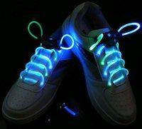 Wholesale 24 Flash Shoelaces of LED Light Luminous shoestring LED bootlace Fourth generation for freeshipping