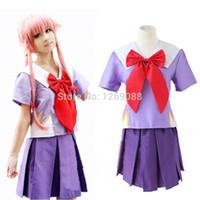 Cheap Anime Character cosplay The Future Diary Heroine Gasai Yuno Mirai nikki Cosplay Costume High Quality Custom School Uniform full set colthes