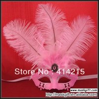 Wholesale Hot Seller Handpainted Venetian Style Rhinestone Solid Pink Feather Masquerade Party Mask