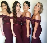 Wholesale Navy Blue Burgundy Beach Vintage Bridesmaid Dresses Off the Shoulder Lace Maid of Honor Gowns Long Formal Wedding Party Dresses BA1874