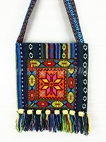 cross stitch fabric - Mixed batch Ethnic Multicolor Cross stitch fabric women shoulder bags Christmas snowflakes pattern wood beads tassel messenger bags