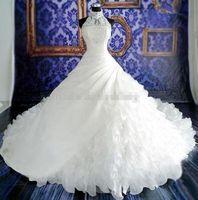 8 - Best Selling Spring Princess Wedding Dresses Weddingloveyou Vestidos De Novia Beads Organza High Neck Cathadral Length WH051201