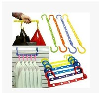Wholesale windproof rings clothes hanger type the word magic coat hanger space saving plastic slip