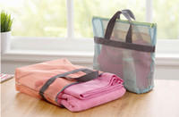 make up bag - Fashion Home and Travel Mesh Storage Bag Wash Bag Make Up Cosmetic Bag Beach Toiletry Bag Bathing Pouch