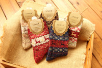Wholesale Christmas Snowflake Deer Design Womens Wool Socks Warm Winter Comfortable Discount Socks