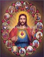 cross stitch fabric - 2014 new wall Jesus religious decoration diy full drill diamond painting cross stitch rhinestone pasted painting NW001