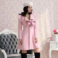 Wholesale 2014 EUR Pink Slim Sweet Princess Turn dTwn Ruffles Collar Wool Coats Women Outerwear Sweet Princess Style B229