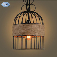 Wholesale Countryside hemp rope pendant lights Bar cafe dinning room bird cage drop light lamp retro LOFT style back to industrial times