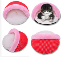 Wholesale 2015 Hot Sell Soft Dog Cat Bed Half arc Cradle Polka Dot Pet House For Cat Kennel Doggy Warm Cushion BT35