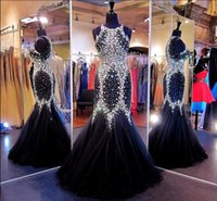 Wholesale 2015 Sparkly Mermaid Pageant Dresses with Crystal Jewel Black Celebrity Evening Dresses Plus Size Prom Dresses with Rhinestone