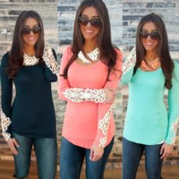 womens tops - Fashion Womens Long Sleeve Lace Decoration Tops O Neck Summer Casual Shirt Tops Blouse