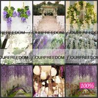 Wholesale 110cm Short Simulation Flower Artificial silk flower Wisteria Vine for Wedding Home Decoration Purple WG001PU S