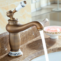bathroom tap tops - TOP Sales Antique Solid Brass faucets Bathroom Sink Basin Faucet Porcelain Mixer Tap Single Handle Faucet A F001