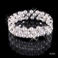 fashion bangles rhinestones - 2015 Most Popular Elegant Fashion In Stock New Row Gorgeous White Pearls Bridal Bridemaid Bracelets Wedding Jewelery Christmas Gift