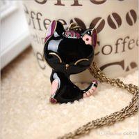 Vente en gros - bijoux vintage Crystal Collier charmant chat pendentif Girl Chandail Chaîne charme Collier cadeau nouveau bijoux mode bon marché