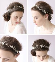 Wholesale Stylish Leaf Pearls Crystal Bridal Hair Band Hair Ornaments Head Ornaments Bride Wedding Accessories And Jewelry