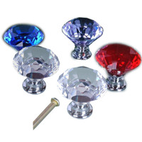 cabinet knobs - 30mm Clear Crystal Glass Diamond Shape Cabinet Knob Cupboard Drawer Pull Handle Used For Cabinet Drawer Chest Furniture Knob