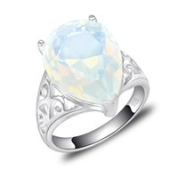 bulk lots - 5pcs Bulk Price Christmas Gift Sterling Silver Oval Moonstone Gems Ring R0139
