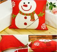 Wholesale 2015 Santa Claus cross stitch pillow cover Christmas decorations embroidered cushions pillow Christmas gifts