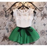 Wholesale kids clothing Humor Bear New girls clothing sets pleated lace stitching vest two piece children casual conjunto kids clothes suit skirt