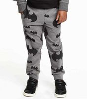 bat print fabric - Free UPS ship Boys Batman casual pants Grey color Bat Printed trousers Pile fabric cotton size sz kids TOWEL