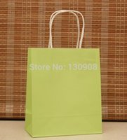 Cheap Green bags and purle paper bag with twisted handle for Christmas gifts packaging size 15*8*18cm Free Shipping