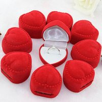 Wholesale 10 Heart Shaped Ring Box Cute Mini Red Carrying Cases For Rings High Quality Jewelry Packaging Display Box