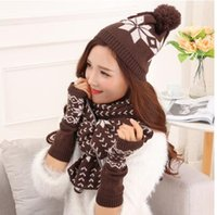 Wholesale 2016 new fund sell like hot cakes scarf hat glove three suits winter warm snow super thick and fluffy line new lady