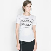 Wholesale FG1509 New fashion women t shirt NOUVEAU GRUNGE letters printing white collar female T shirt with short sleeves