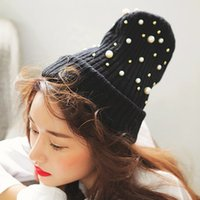 Cheap Wholesale-2015 Korean version of the fall and winter new Korean straight hair stylenanda clean pearl embellishment bamboo cute knit hat