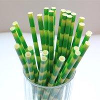 bamboo pop - Green Patterned Bamboo Paper Straws Unique Pretty Wedding Birthday Mason Jar Straw Party Decorations Cake Pop Sticks