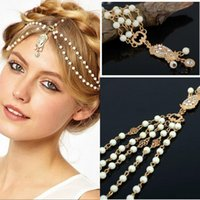Wholesale 2015 New arrival Women Fashion Metal Rhinestone Head Jewelry Headband Chain Headpiece Hair Band