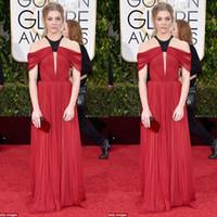 2016 Globo de Oro rojo vestidos de noche desgaste Art Deco-inspirado cuello de hombro una línea de tren de barrido Celebrity vestido de alfombra roja vestidos formales