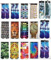 Wholesale FreeDHL Skateboard socks printed gun emoji tiger skull socks Unisex stockings Mix color basketball street D socks pair E44L