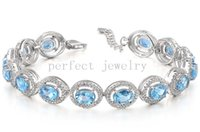 Wholesale Blue topaz chain bracelet Natural real blue topaz sterling silver plated k white gold Perfect Jewelry DH