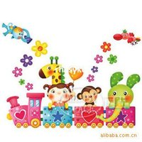 Wholesale 10pcs children s wall painting wall stickers cartoon train children s room wall stickers cute stickers girl Five LM1005
