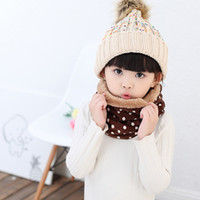 Wholesale 24pcs Lovely Polka Dot Pattern Scarf Wool Knitting Mufflers Children s Winter Neckerchief Wrappers Favors HX524