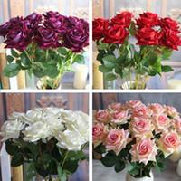 red velvet flower - Red Valentine s Velvet Rose Spring Artificial Fake Peony Flower Bouquet Room Wedding Hydrangea Decor