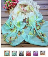 butterfly scarf silk - 25PCS Sexy Women Cheap Butterfly Chiffon Scarfs Chiffon shawls Women Silk Scarves Quatrefoil Scarf Infinity Scarves
