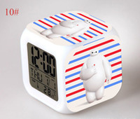 Wholesale 2016 NEW holiday gift set Big Hero Baymax LED Colors Change Digital Alarm Clock Colorful Glowing Clocks Strange new gifts for children