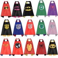 Wholesale Double side superhero Cape Superman Batman Spiderman Teenage Mutant Ninja Turtle Frozen Flash Supergirl Batgirl Robin kids capes